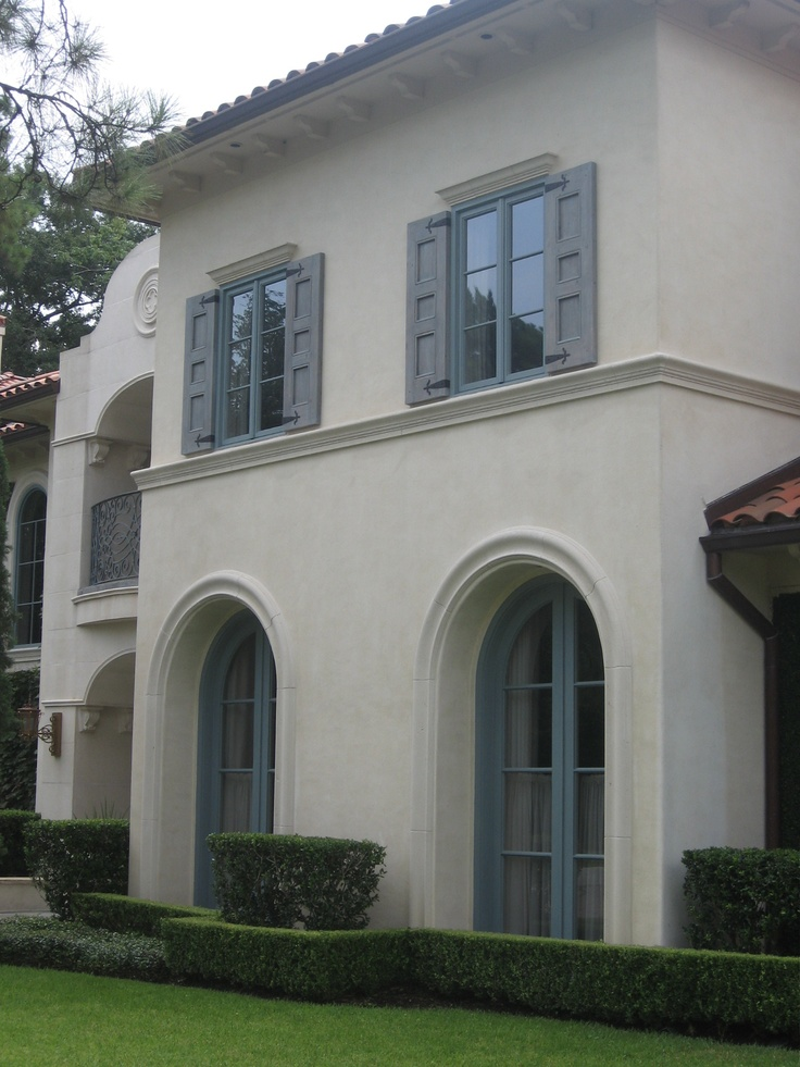 Mediterranean style shutters with our custom hinges. www.finecraftInc.com