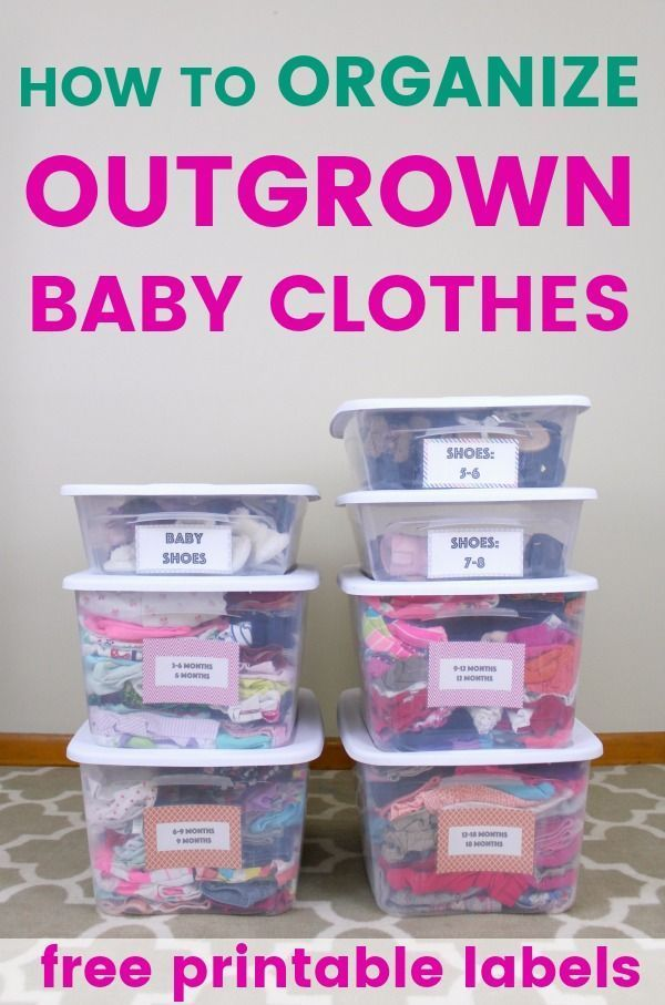 9050d015dbe How to organize and store outgrown baby clothes- printable storage  container labels for boy and girl