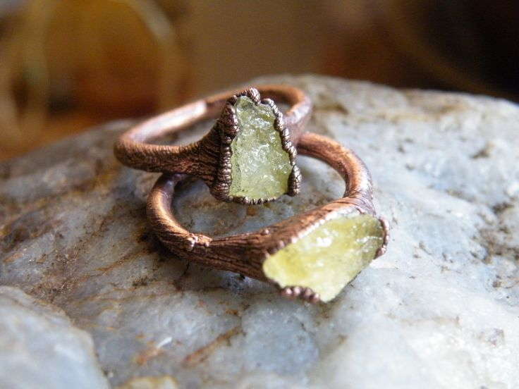 Citrine ring / crystal ring / electroformed ring / boho jewelry / rustic jewelry / raw citrine pendant by CrystalGridDesign on Etsy
