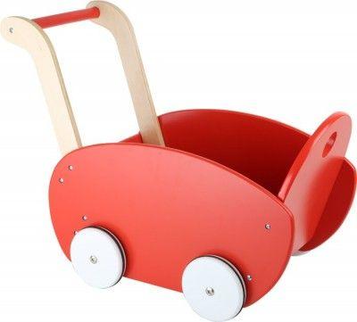 Small Foot Drevený kočík pre bábiky červený