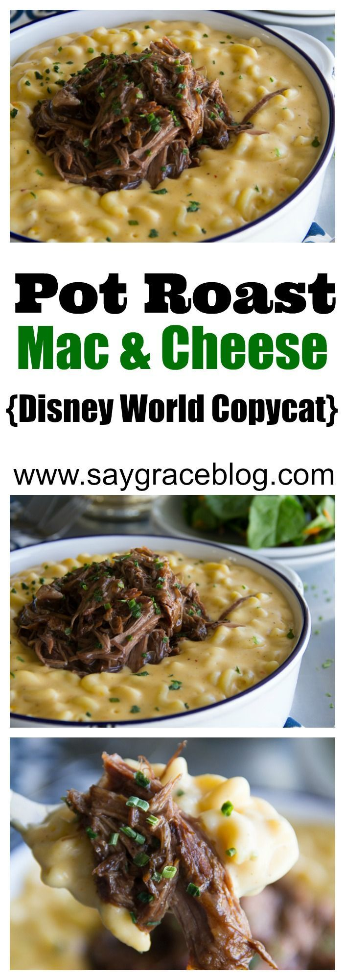 HoneyBaked Ham's slow cooked, tender Beef Pot Roast gets piled on top of a creamy, spicy, homemade macaroni and cheese to copycat the popular Magic Kingdom comfort dish.