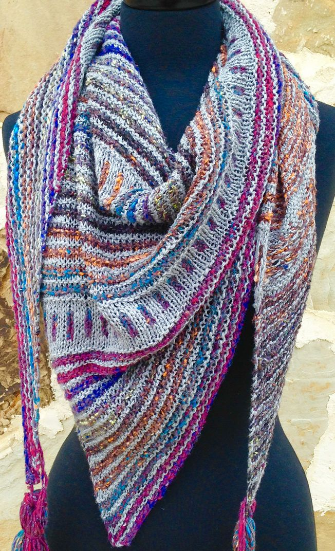 Knitting Patterns Scarves 2 Colors : 705 best images about Shawls on Pinterest