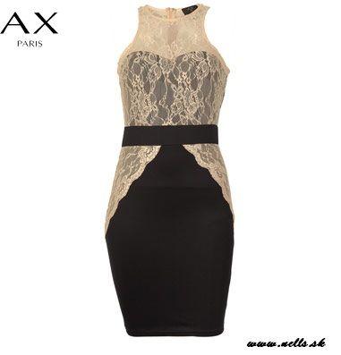 Dámske oblečenie | Dámske šaty | AX Paris Lace And Scuba Contrast Dámske šaty tmavomodré | www.nells.sk - Parfumy, kozmetika a oblečenie svetových značiek.