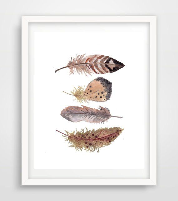 Feather Print, Printable Art, Feather Art, Four Feathers, Wall Decor, digital Download, Wall Art, Home Decor