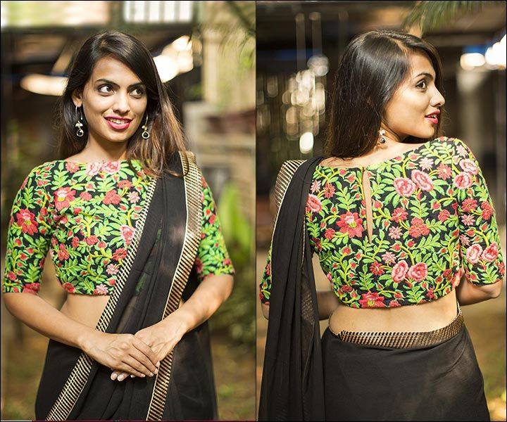 14614fb25a2121 Boat Neck Blouse Designs: 15 Latest Blouses Are The Rage In 2017 | Blouse  designs | Blouse designs, Blouse neck designs, Boat neck saree blouse