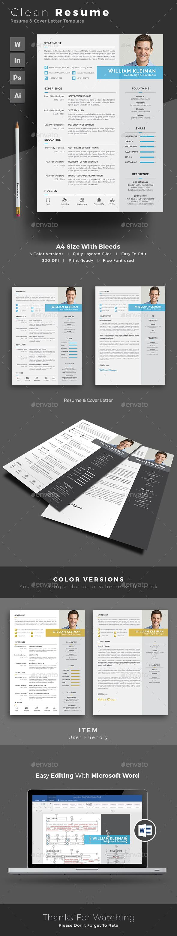 #Resume - Resumes #Stationery Download here:  https://graphicriver.net/item/resume/19253324?ref=alena994