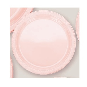 "Plastic Pale Pink Dessert Plates. There are 20 Solid Colour Plastic 7"" Dessert plates per package. They come in 22 colours and are a great party accessory where you want to match a colour and you also want a plate that is stronger than paper."
