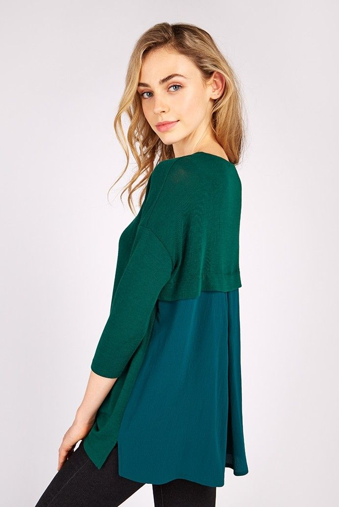 <p>Own the transitional dressing game with this contrast material top from Locuhe. Available in green or mustard, this super comfy knitted top features a chiffon style pleated layer at the back! Pair with skinny jeans and brown ankle boots, make sure you have a PSL in hand and you're ready for whatever autumn may bring!</p> <ul> <li>Mixed material knitted top</li> <li>Lightweight pleated panel at back</li> <li>3/4 s...