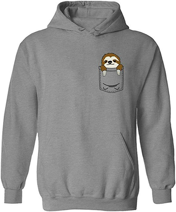 Pocket Sloth Mini Pet Cute Funny Pullover Hoodie Heather Grey L Amazon Co Uk Clothing Sloth Hoodies Sloths Clothes Cute Sloth