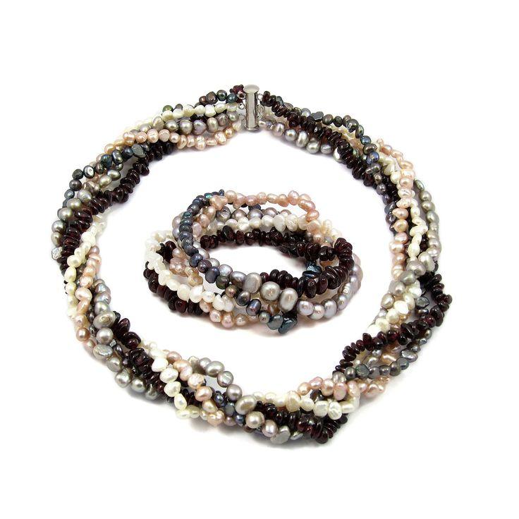 Set Orchira Dans de Perle și Granate (colier, brățară)