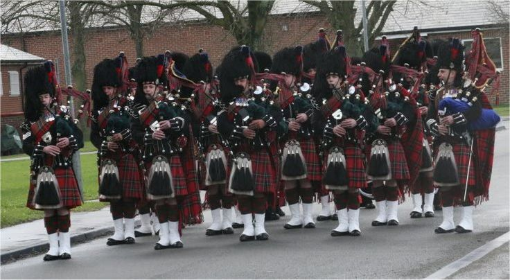 On Parade!  Pipers of the 1st Btn. Scots Guards at their HQ in Catterick Garrison. Pipe Major Brian Heriot on the right of picture and Pipe Sergeant Ross McCrindle on the left.