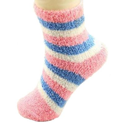 Candy color striped fuzzy ankle socks. In a cozy Pink and Blue combination, these will keep you toasty warm over the fall, winter and spring. - Material: Cotton