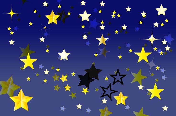 キラキラひかる可愛い星のイラスト素材!暗いお空でゆらゆら瞬く星の無料イラスト。