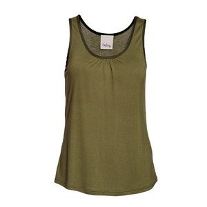 """SUST SILK top w gather, army. Cool and extra soft top with wide straps and small gathers in the front. Beautiful and elegant. Limited.  Made from 80% bamboo and 20% silk in """"dead stock"""", which means that it's made from residues from other collections. Because of that, the top is limited."""