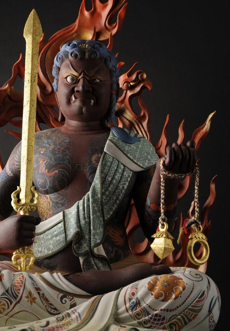 不動明王 - Fudo Myō-ō I love this image of Fudo so much. I love the tattoos on his chest. Beautiful.