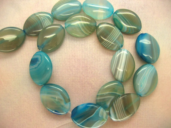 16 Inch Strand Aqua Blue Lace Agate Polished Puffed by ebeadstore,