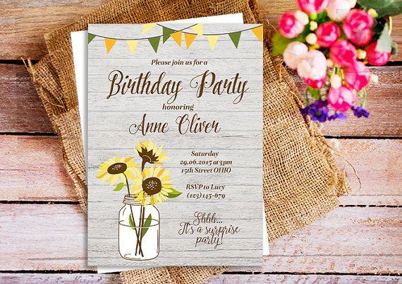 sunflower mason jar invitations, sunflower birthday invitations, sunflower birthday invites, rustic sunflower birthday party invites, wood