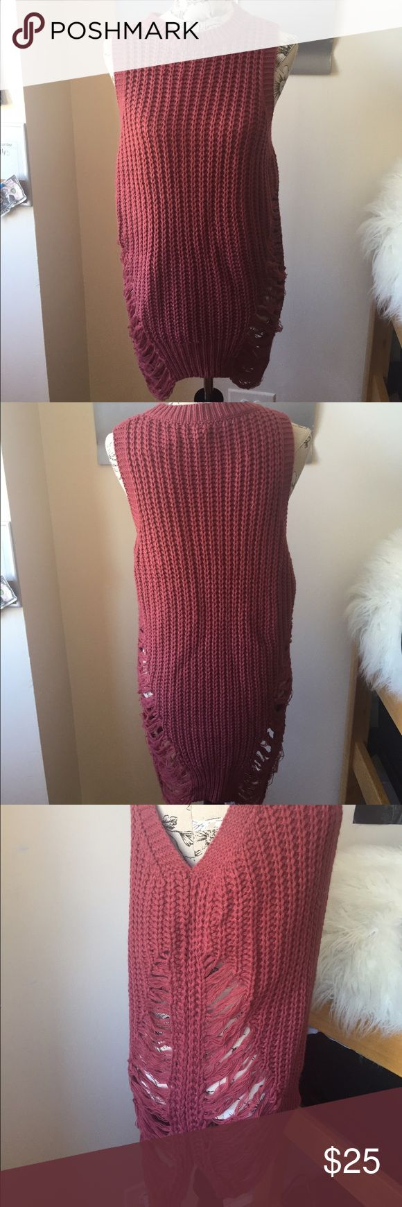 Tank top sweater Red long sleeveless sweater. Has shredded accents on side. Super soft material!! Urban Outfitters Sweaters