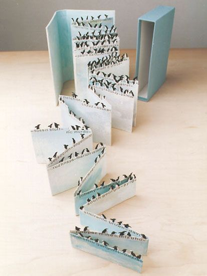 "Nicole Morello ""Saving Antarctica"" 1998 hand-cut accordion fold artist book"