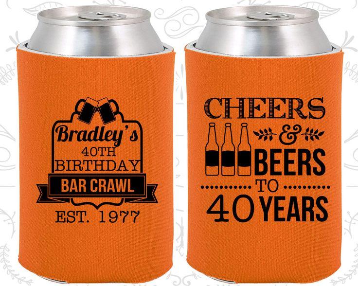 40th Birthday, 40th Birthday Favors, Personalized Birthday Favors, Cheers and Beers, Cheers to 40 years, Bar Crawl (20216)