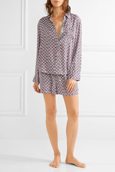 DKNY - Printed Satin Pajama Set - Lilac - x small