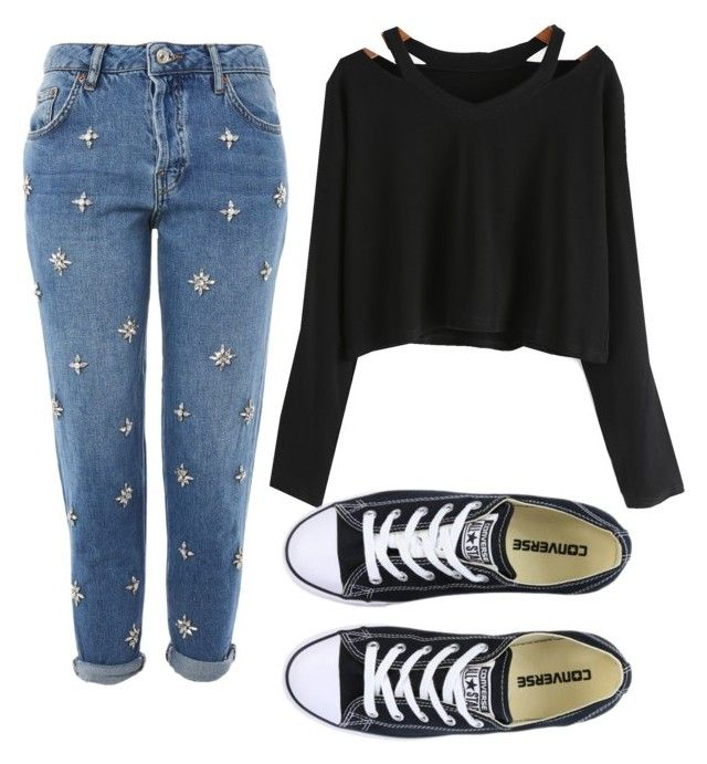 """Untitled #43"" by rooloyola on Polyvore featuring Topshop and Converse"