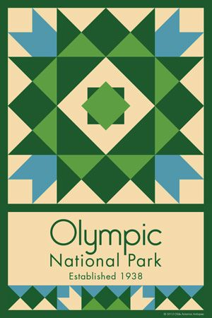 Olympic National Park Quilt Block designed by Susan Davis. Susan is the owner of Olde America Antiques and American Quilt Blocks She has created unique quilt block designs to celebrate the National Park Service Centennial in 2016. These are the first quilt blocks designed specifically for America's national parks and are new to the quilting hobby.