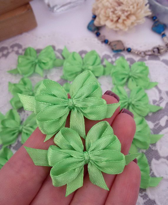 Mint green ribbon bows satin ribbon applique bows by Rocreanique on Etsy