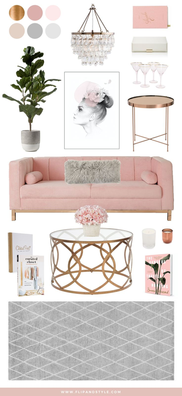 Blush, Copper and Grey Home Decor   Interior inspiration for a living room space   interior design + decor   www.flipandstyle.com