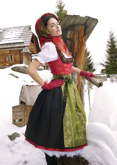 Green and Red dirndl- I may have to make a dirndl like this one....