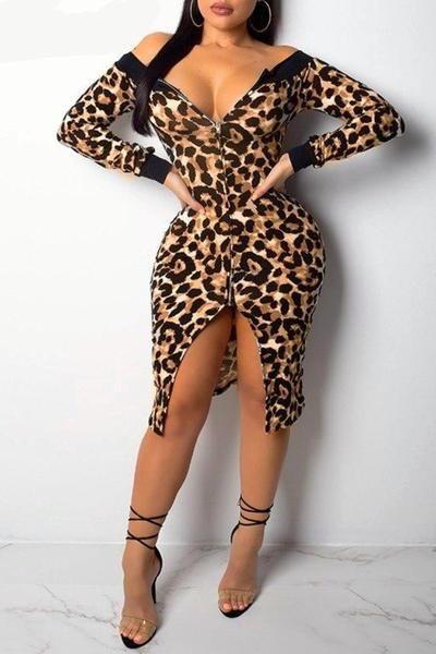 fa55807199be Leopard Print Off The Shoulder Slit Midi Dress | Fashion | Dresses ...