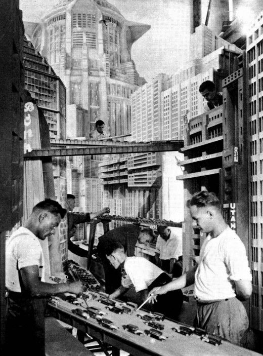 Fritz Lang's Metropolis City set model being prepared for filming.