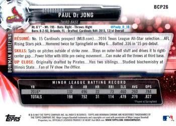 2017 Bowman - Chrome Prospects #BCP26 Paul De Jong Back