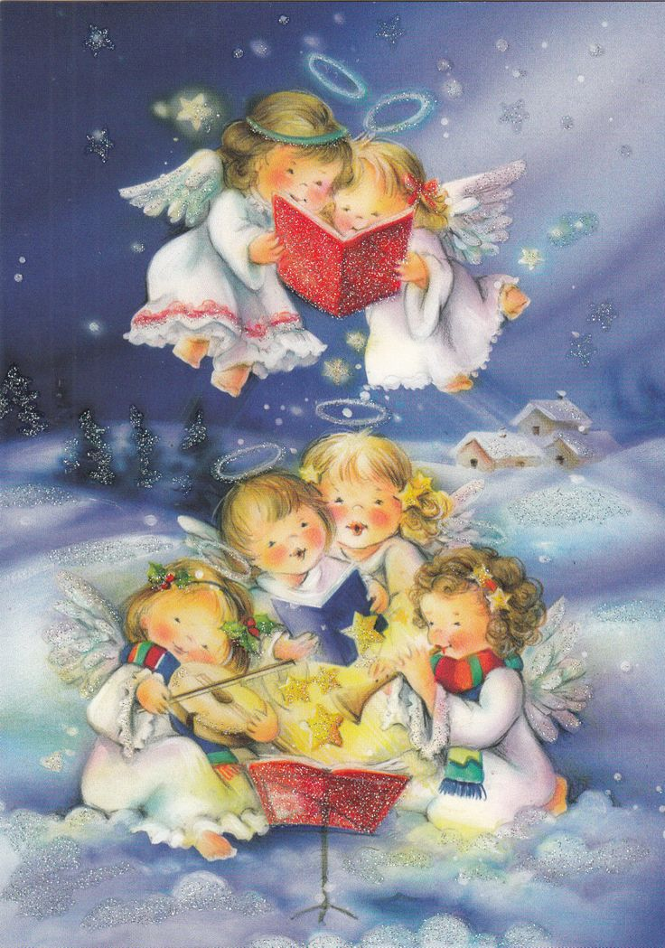 New single Christmas card, angels, singing, cute | eBay