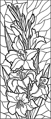Stained Glass Lilies Coloring page