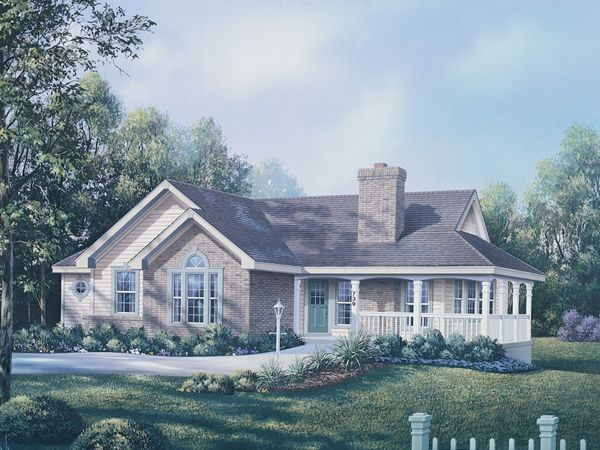 brick ranch home plans with country porch | Deer Ridge Traditional Home Plan 007D-0075 | House Plans and More