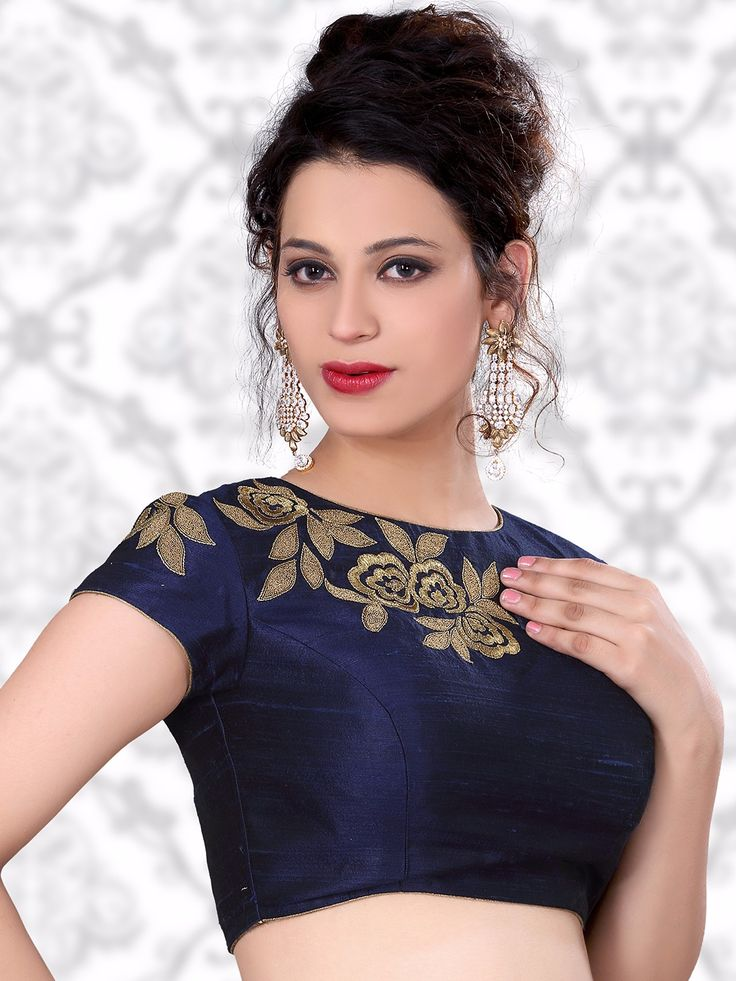 Navy Raw Silk Designer Ready Made Nice Blouse For price or detail do whatsApp +91-9913433322
