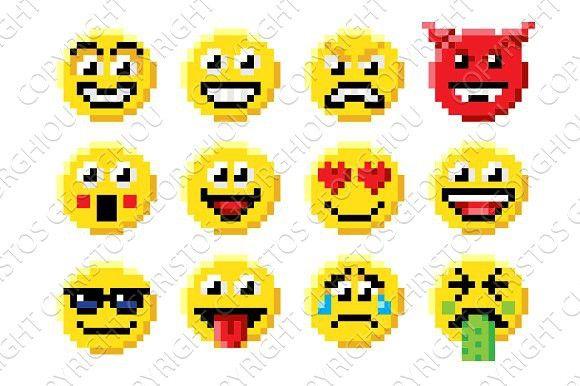 Pixel Art Emoji Emoticon Set Pixel Art Emoticon Faces Pixel Art Design