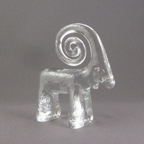 Bertil Vallien crystal figural Ram for Kosta Boda