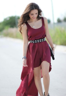 Image of InLoveWithFashion Burgundy Satin Maxi Dress (Mullet Dress)