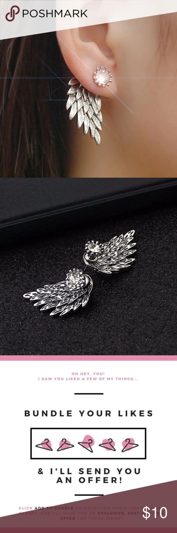 "New🎉 Silver Angel Wings Earrings Save more when you bundle just ""add to bundle"" and I'll send u a private offer. COLOR: silver    Brand new ✅ ✨Boutique Item✨ Not accepting OFFERS on INDIVIDUAL ITEMS ❌ No trades ❌ No drama zone❌ No holds❌   💥🔅Prices are FIRM🔅💥    If u have any questions plz ask before purchase is made Jewelry Earrings"