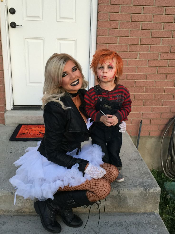 Mom and son costume. Cason as chucky. Melissa as the bride of chucky. Halloween 2015