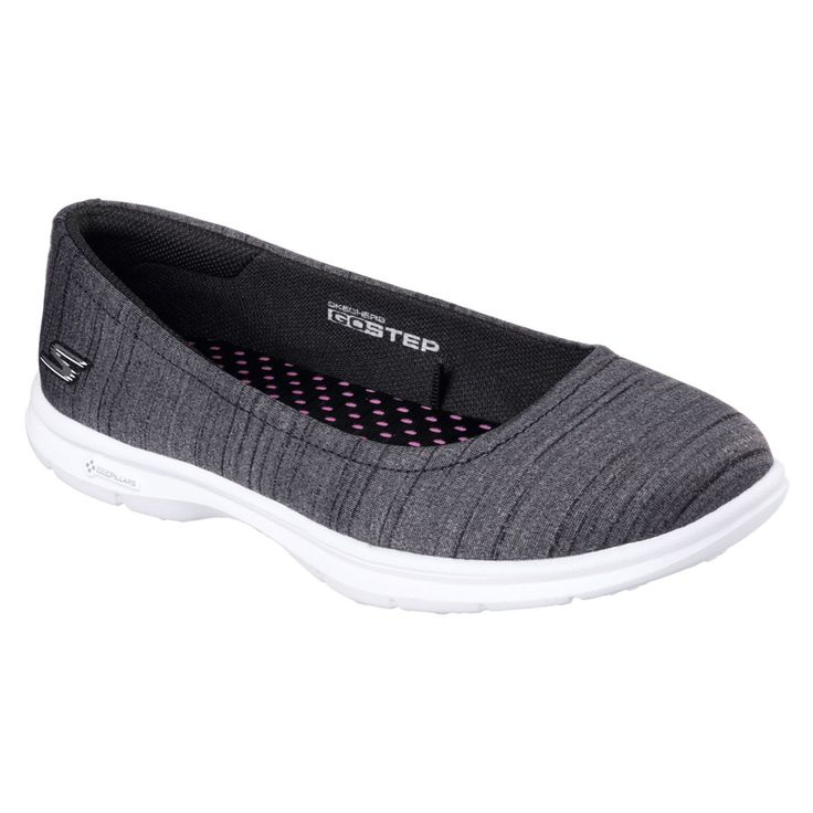 Skechers Go Step Trace Black White Women S Ballet Flats