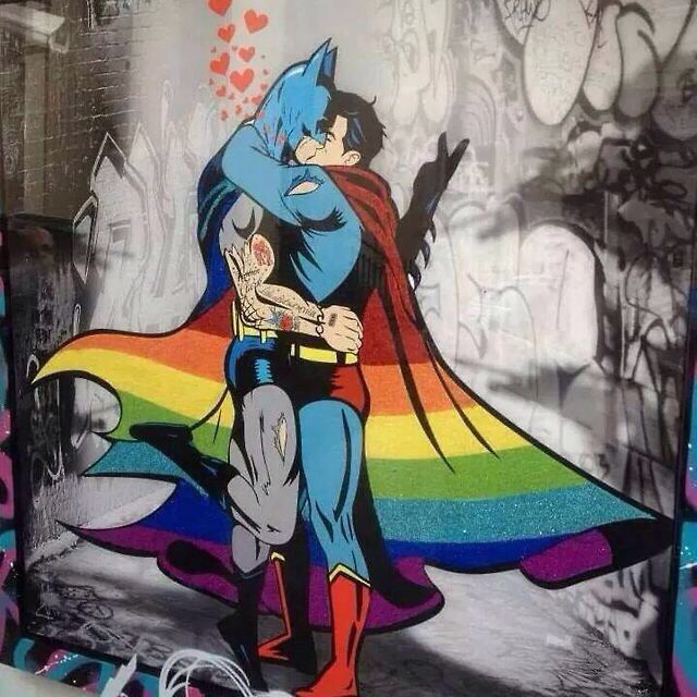 LGBTQ batman and superman. Awesome.... one of the first things I shared on the tinternet.... love this x