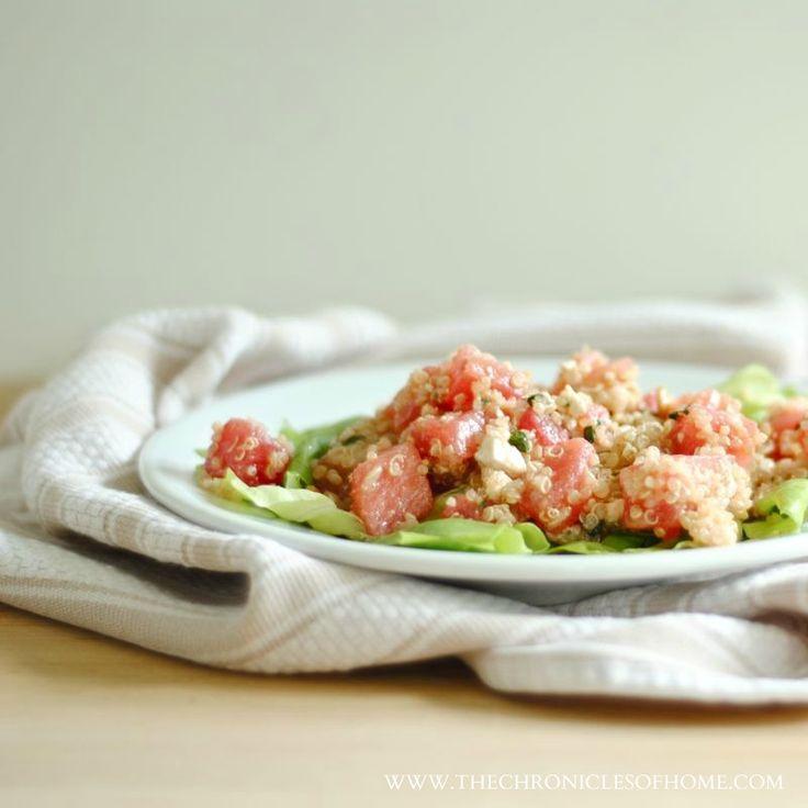 Quinoa Salad with Watermelon, Feta, and Basil