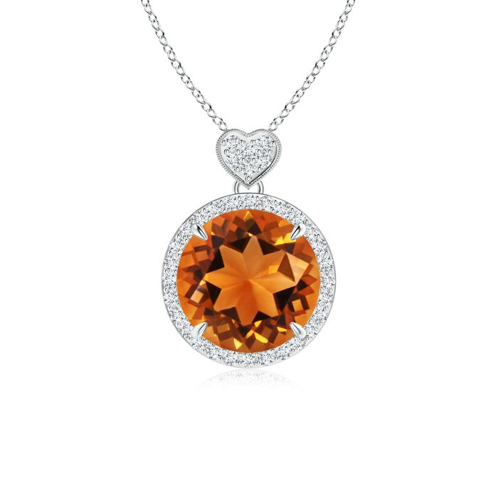 Angara Pear Citrine Pendant with Diamond Halo in 14K Yellow Gold 4W0s3c56