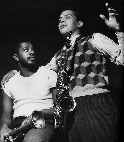 Donald Byrd and Jackie McLean at Byrd's Off To The Races session, Hackensack NJ, December 21 1958 (photo by Francis Wolff)
