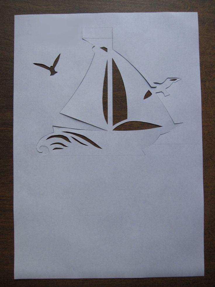 Шаблон открытка парусник
