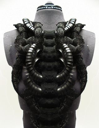 Wearable Art - knitted & woven sculptural harness - experimental fashion design with an innovative use of textiles // Cezanne Agatha Gramson