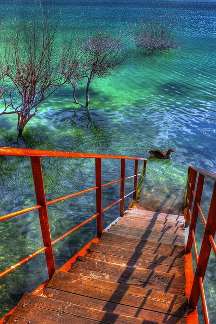 Stairway at Kournas Lake, Crete, Greece All the beautiful places that I see are in Greece! I guess I must visit Greece!